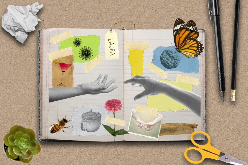Illustration of scrapbook pages dedicated to friendship.