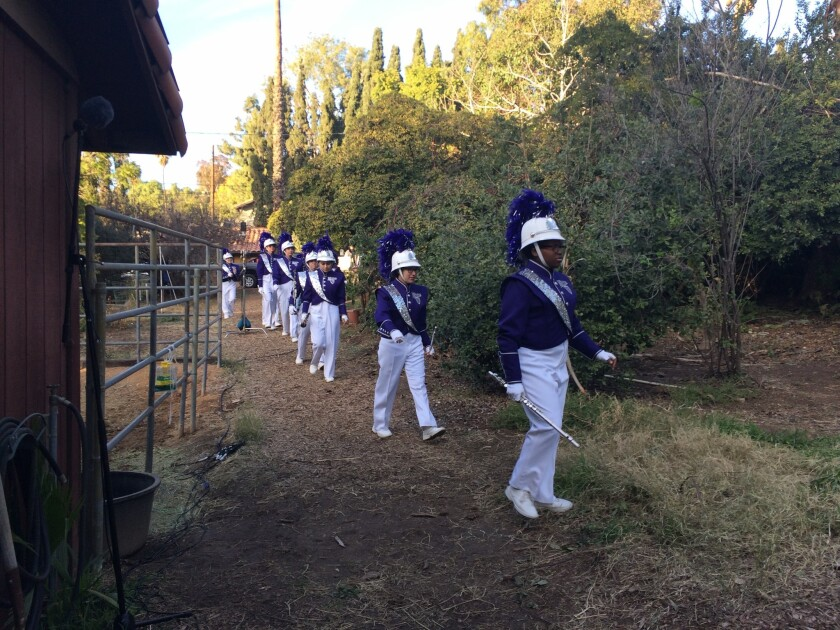 "A marching band from Indio taking its place for a scene in ""Vireo."""