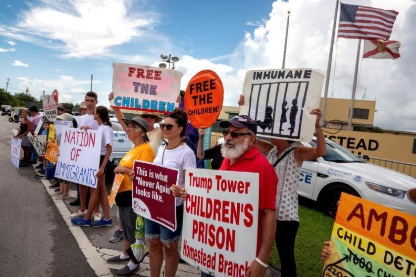Immigration activists protest in front of Homestead Temporary Shelter for Unaccompanied Children in Homestead, Florida, USA, 15 July 2019.EFE/EPA/Cristobal Herrera