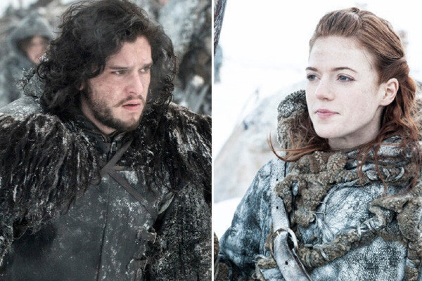 "Jon Snow (Kit Harington) and Ygritte (Rose Leslie) escalate their relationship in ""Game of Thrones."""