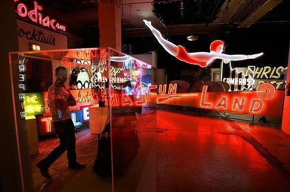 Stephen Stout of San Francisco visits the Museum of Neon Art in L.A. The museum has had various homes in downtown L.A. since 1981, but it's now moving to new quarters on Brand Boulevard in Glendale, across from Americana at Brand.