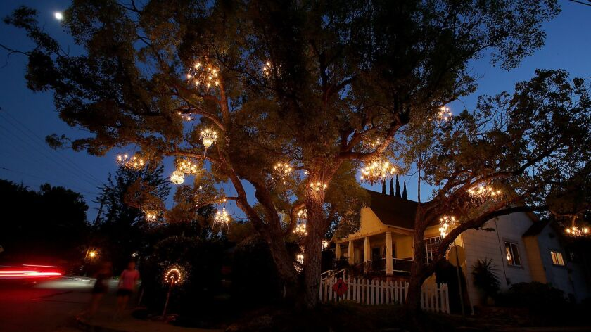 LOS ANGELES, CALIF. - JULY 8, 2014. Women out for an evening stroll walk past the Chandelier Tree i