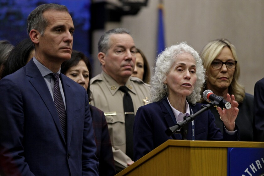 L.A. County Public Health Director Barbara Ferrer speaks March 12 at a news conference on COVID-19.