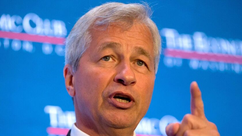 Jamie Dimon, chief executive of JPMorgan Chase & Co., and chairman of the Business Roundtable, speaks at the Economic Club of Washington in September.