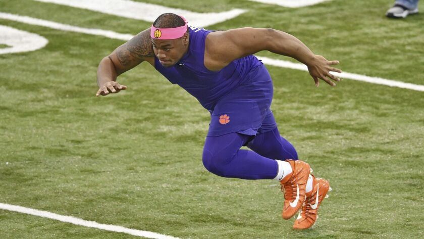 Clemson's Dexter Lawrence runs drills during NFL Pro Day, Thursday, March 14, 2019, in Clemson, S.C.