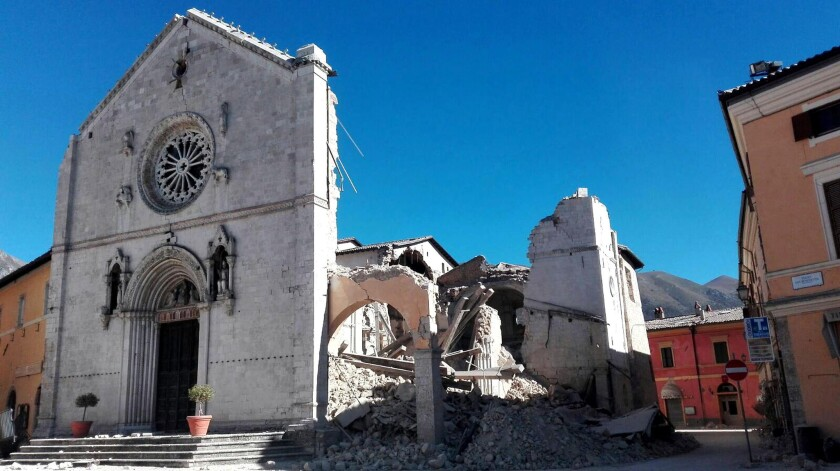 The facade remains standing on the ruined St. Benedict Basilica in Norcia after a magnitude 6.6 earthquake struck central Italy on Sunday morning.