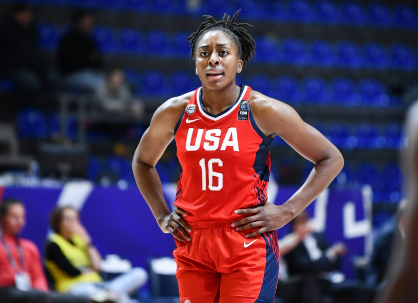 Nneka Ogwumike plays for Team USA against Mozambique during the FIBA women's Olympic qualifying tournament in Belgrade, Serbia, on Feb. 8.