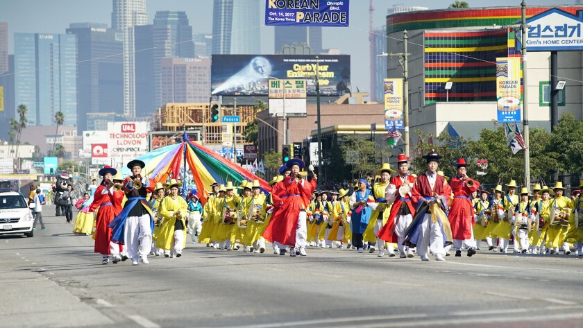 A parade down Olympic Boulevard is one of the highlights of the Los Angeles Korean Festival, held Oc