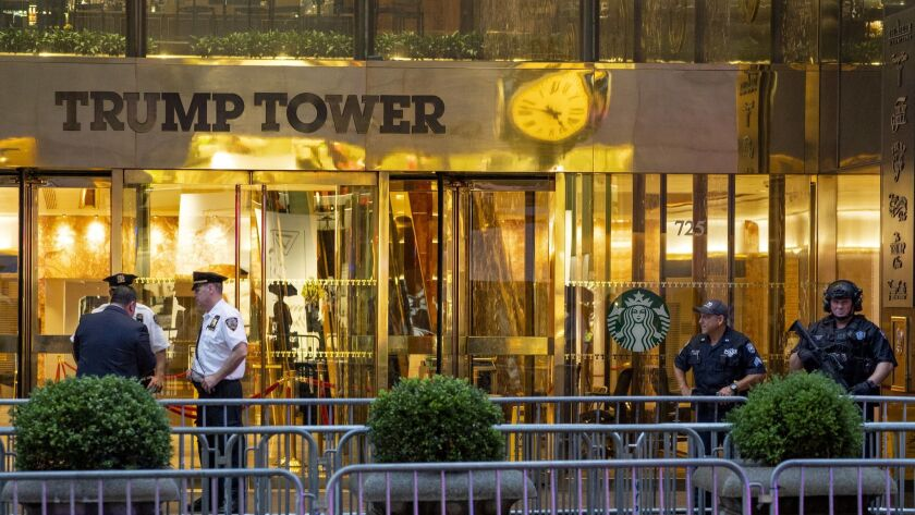 """Police investigate the report of a """"suspicious item"""" inside Trump Tower on Fifth Avenue, Friday, Jul"""