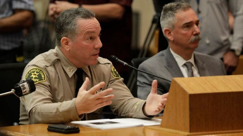 Los Angeles County Sheriff Alex Villanueva speaks to the L.A. County Board of Supervisors on Jan. 29.