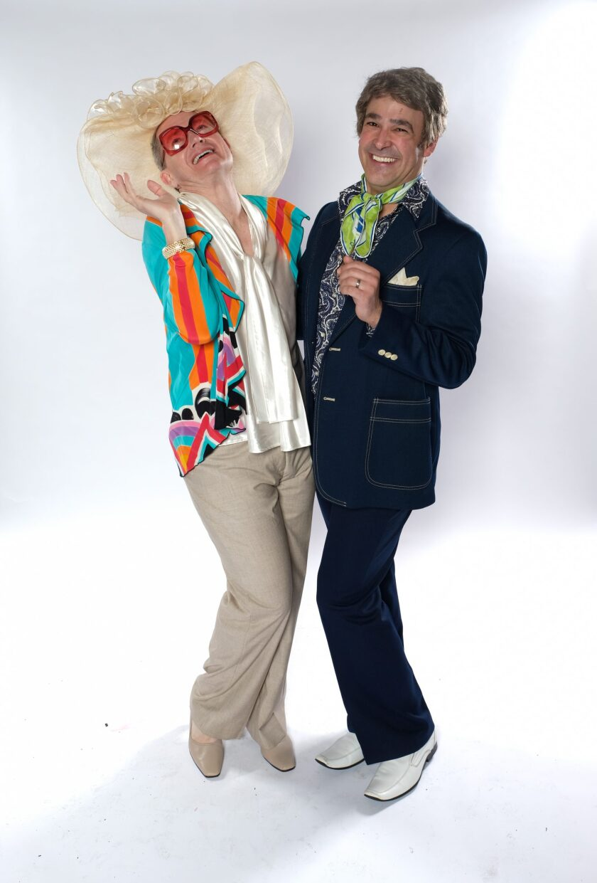 "David McBean (left) and Lance Arthur Smith star in Cygnet Theatre's ""La Cage Aux Folles."""