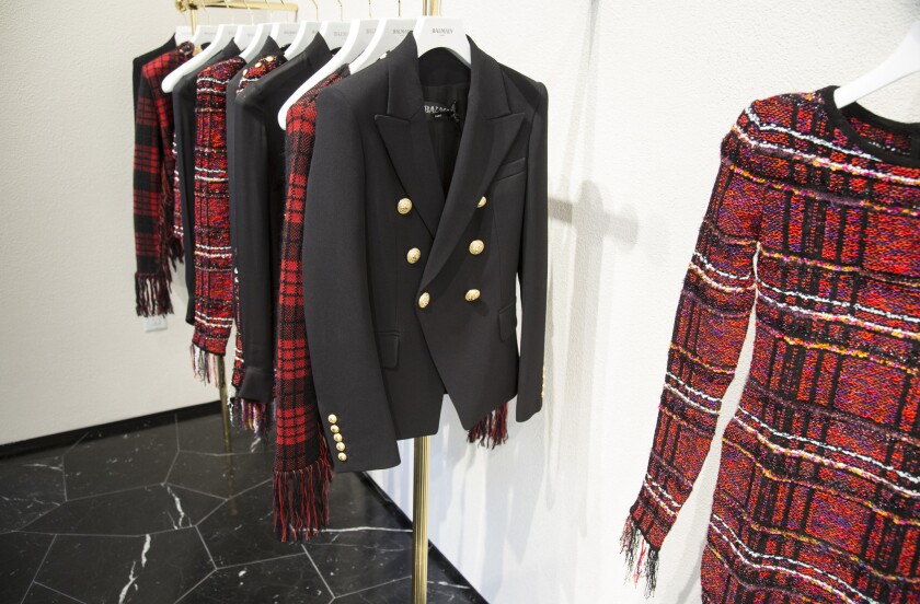 A signature Balmain jacket at the Balmain store, which recently opened on Melrose Place in Los Angeles.