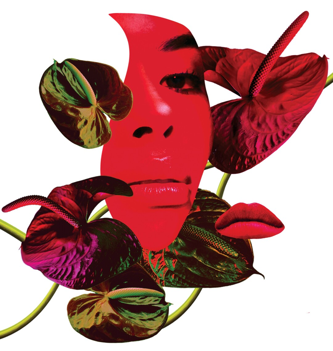 spot collage of plants surrounding a cut out of a face
