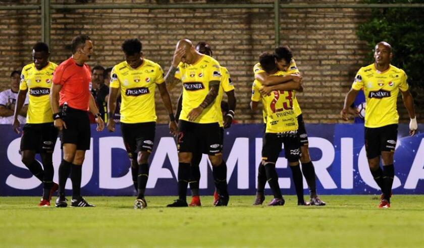 Barcelona players celebrate after scoring a goal on March 7, 2018, against Paraguay's General Diaz in the Copa Sudamericana match played at Feliciano Caceres Stadium in Luque, Paraguay. EPA-EFE FILE/Andres Cristaldo