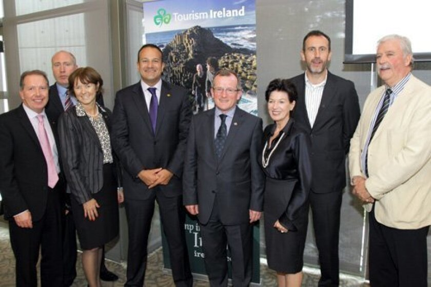 Joe O'Donnell, Russell McHugh, Alison Metcalfe (Head of North America for Tourism Ireland), Leo Varadkar (Irish Minister of Tourism), Niall Gibbons (CEO of Tourism Ireland), Eilis McKay, Philip Grant (Irish Consul General), Neil McKay