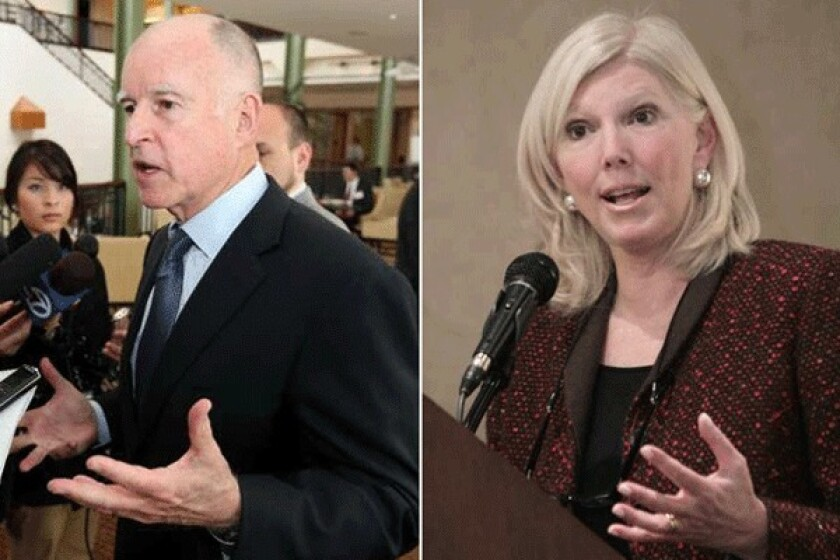 Gov. Jerry Brown talks to reporters about his tax initiative on March 20. Molly Munger, right, is pursuing a rival initiative for the November ballot seeking to raise taxes.