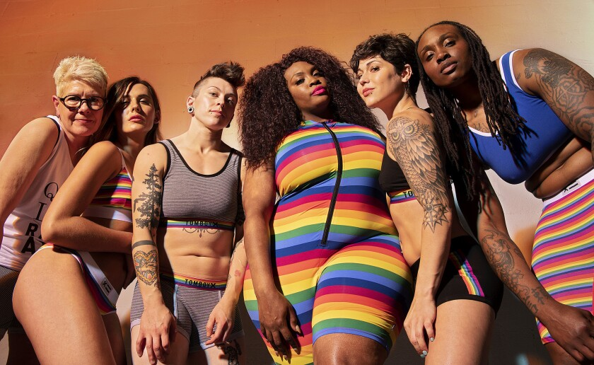 Rainbow stripes and various sayings underscore the special collection from underwear brand TomboyX, among other Pride month goods from a host of designers, labels and brands.
