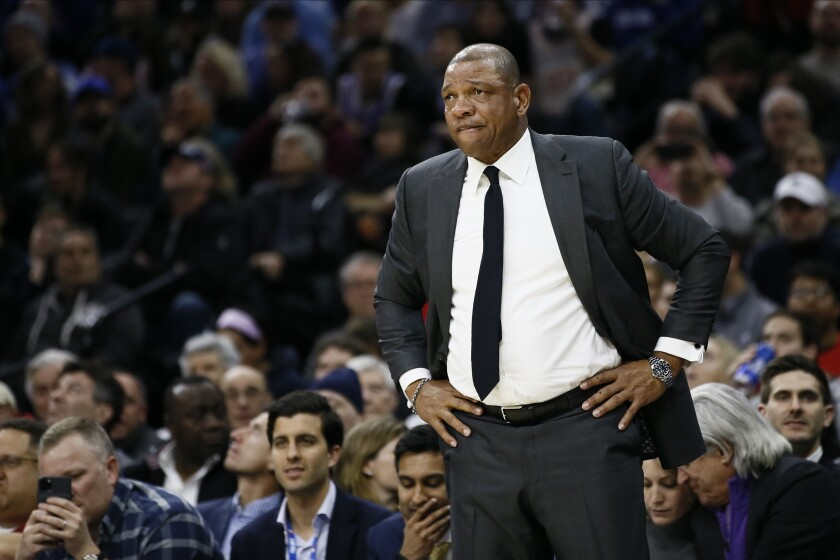 Clippers coach Doc Rivers stares from the sideline during a game against the 76ers on Feb. 11 in Philadelphia.