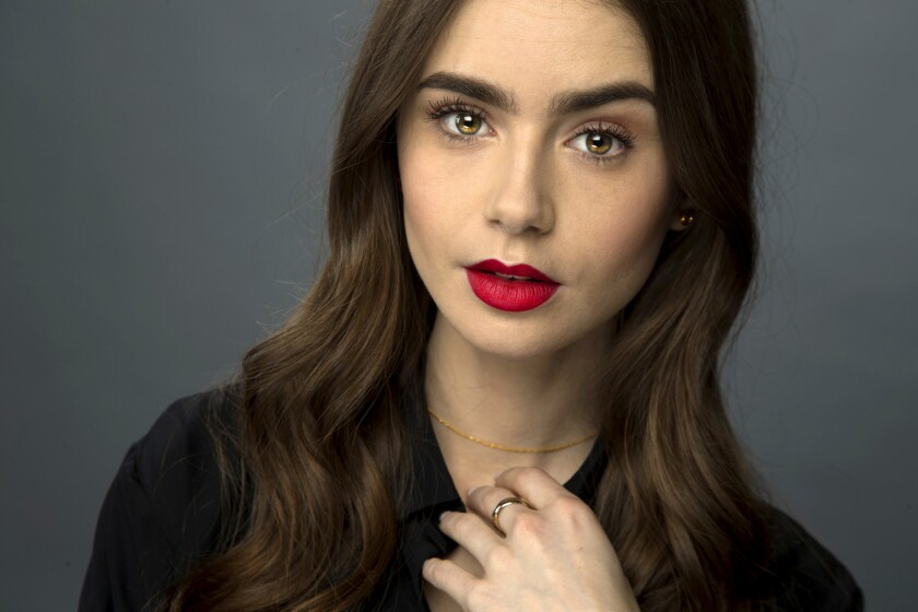 Actress Lily Collins is photographed at the Los Angeles Times studio for an Emmy Contender chat seri
