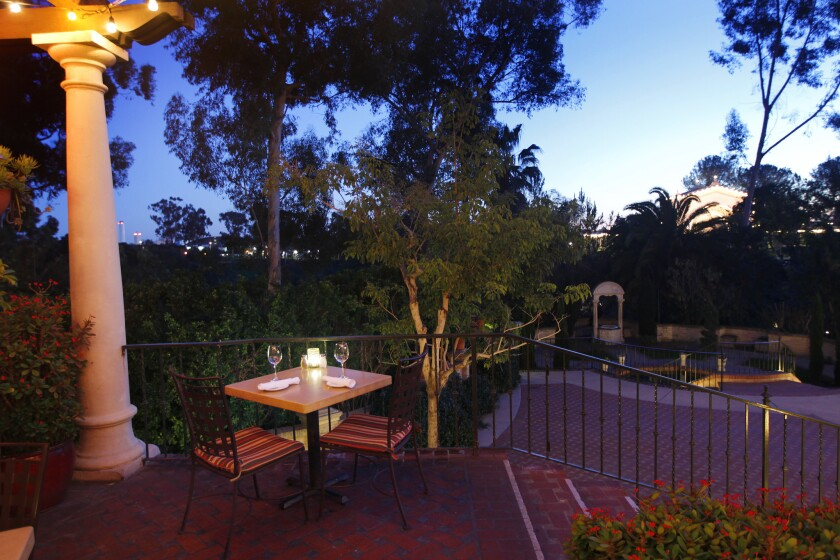 A table for two on the Prado's patio gives you all the romance Balboa Park.