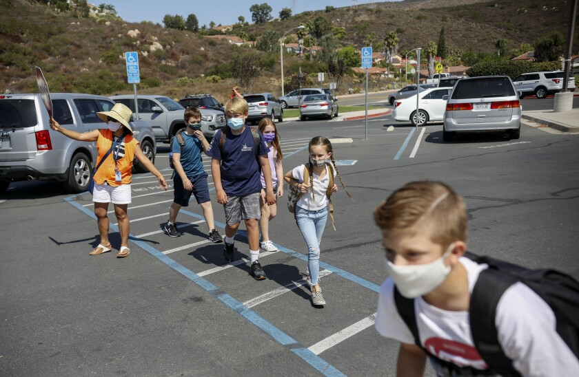 Students walked to class at Sunset Hills Elementary School in Poway in October