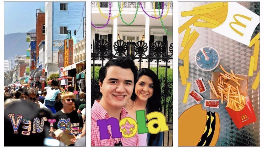 Snapchat geofilters, which bear the name of places along with a symbolic drawing, include one for Ve