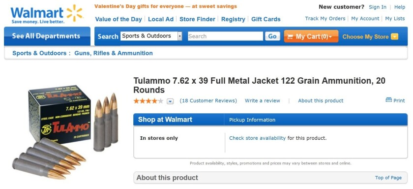 Wal-Mart limits sales of ammunition amid high demand and low supply.