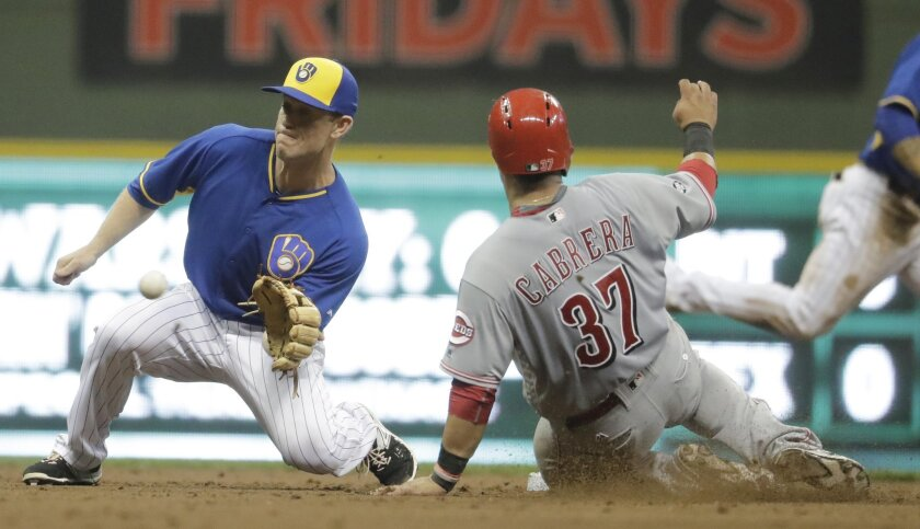 Milwaukee Brewers' Aaron Hill tags out Cincinnati Reds' Ramon Cabrera as he is caught stealing second during the fifth inning of a baseball game Friday, May 27, 2016, in Milwaukee. (AP Photo/Morry Gash)