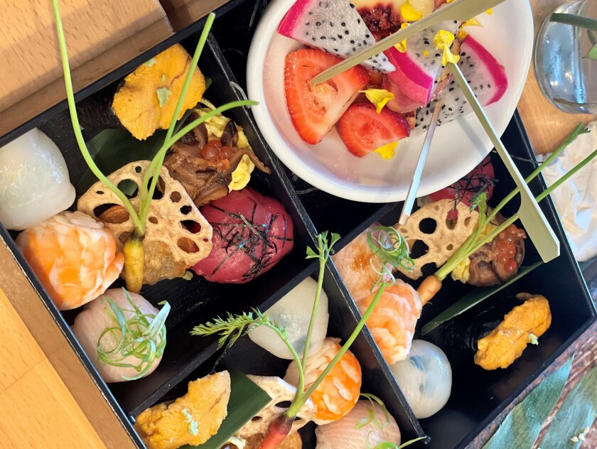 A tray of temari at Pure Sushi restaurant on Convoy Street in San Diego.