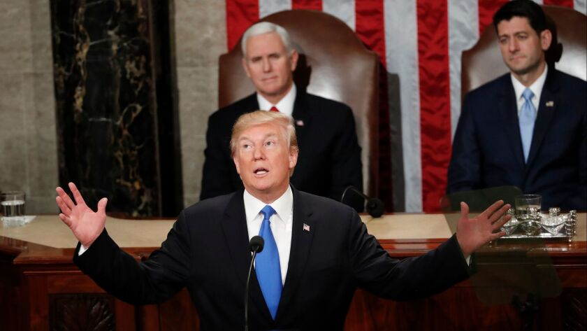 President Donald Trump delivers his State of the Union address to a joint session of Congress in Washington on Jan. 30.