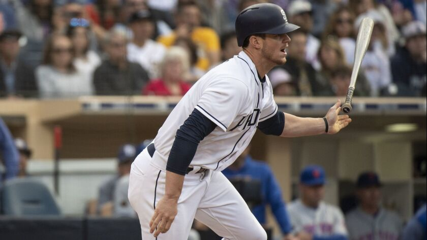 Wil Myers bats against the Mets on April 28. He was placed on the DL with an oblique strain the next day.