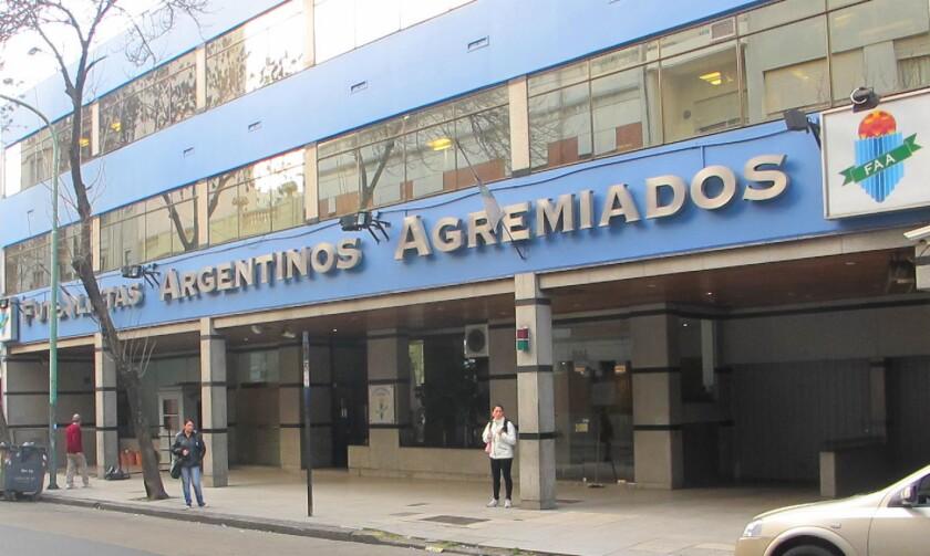 Sede de Futbolistas Argentinos Agremiados (FAA), desde donde avisaron que si la crisis en el ascenso persistía, el torneo de primera división no arrancaba.