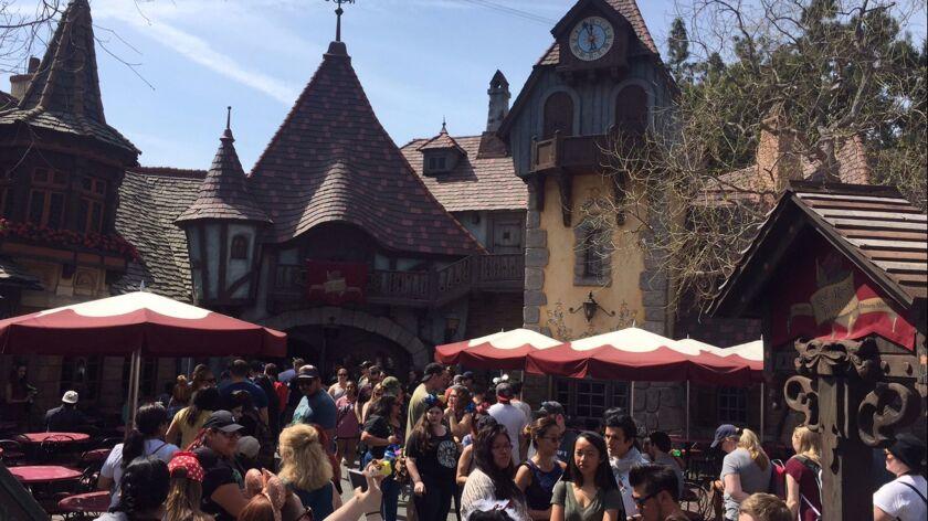 Fans gather at the Red Rose Taverne at Fantasyland in Disneyland.