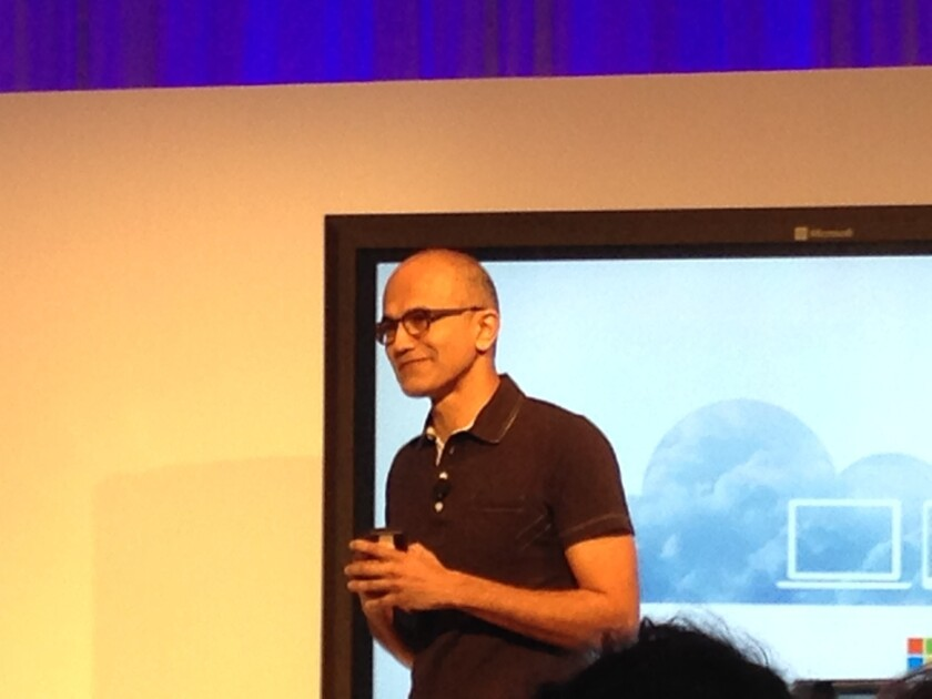 Microsoft CEO Saya Nadella introduces Office for iPad at a San Francisco press conference.