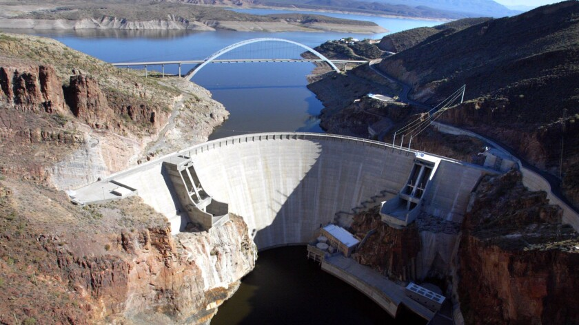 Roosevelt Dam holds back the flow of the Salt River and Tonto Creek.