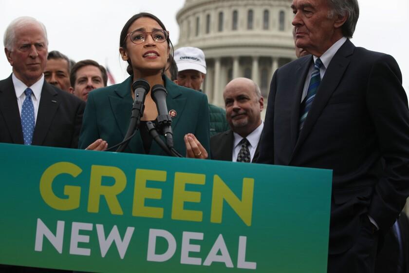 Rep. Alexandria Ocasio-Cortez (D-N.Y.) speaks about her green-energy plan last year.