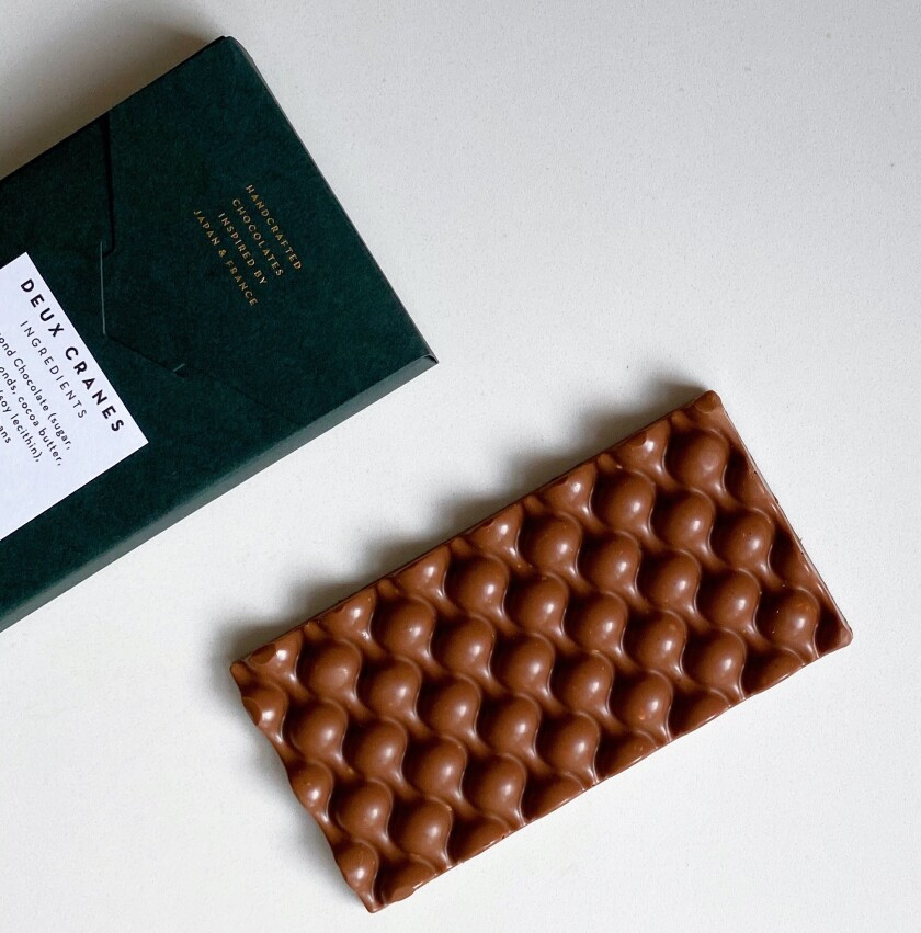 A hand-crafted chocolate bar from Deux Cranes in San Diego