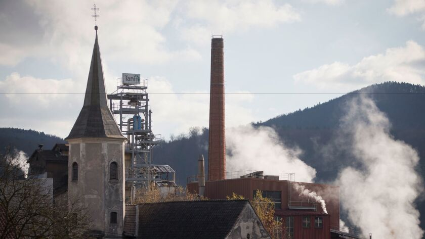 Smoke and steam rise from a factory in Sevnica, Slovenia, on Nov. 9.