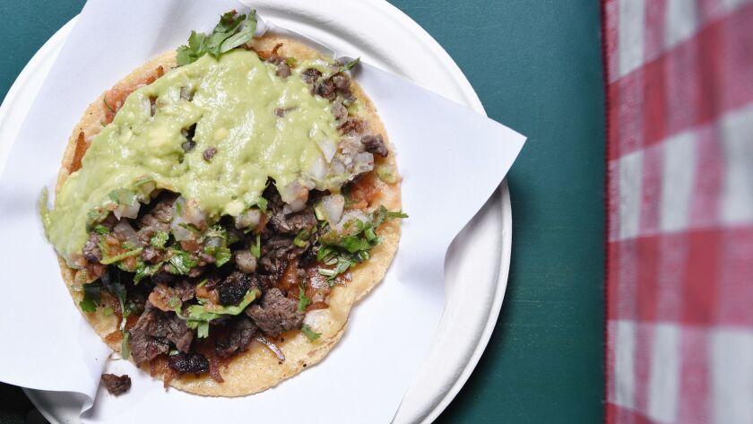 LOS ANGELES CA-January 30, 2019: The carne asada quesadilla from Tacos 1986 at their Koreatown locat