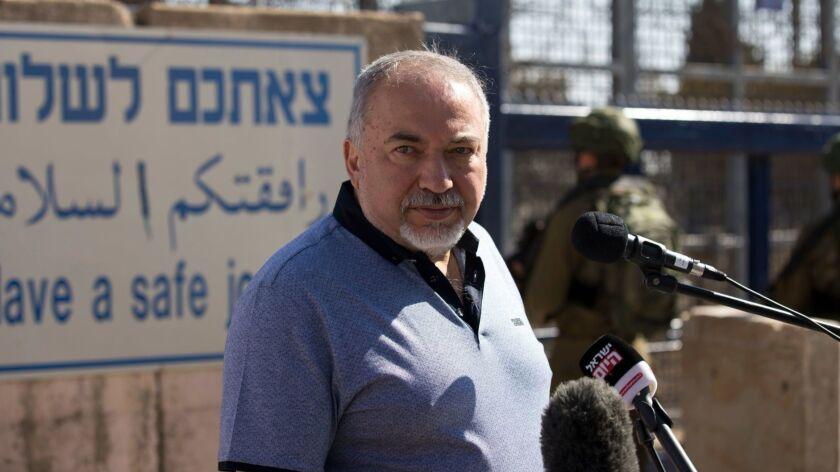 Israeli Defense Minister Avigdor Lieberman visits Quneitra border crossing with Syrian, Golan Heights, Israel - 27 Sep 2018