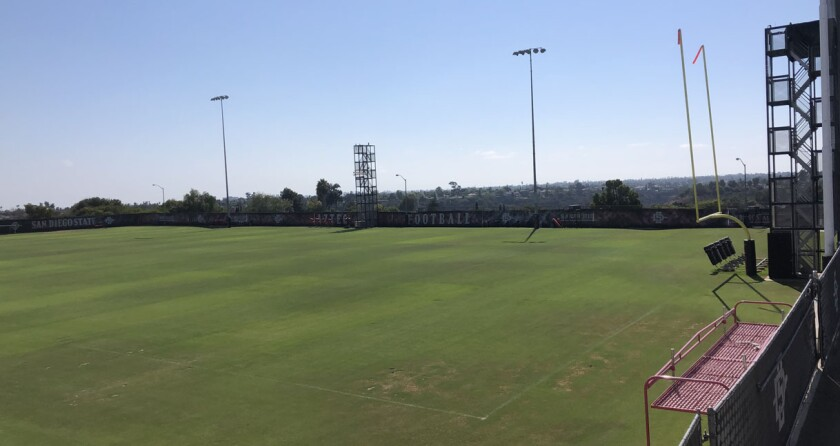 With San Diego State's 2020 season postponed, activity was absent Monday afternoon on the SDSU football practice field.