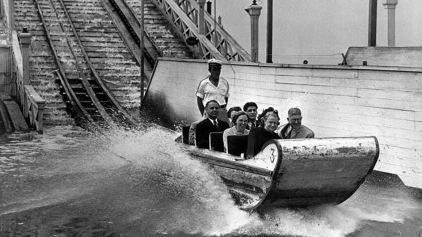 Sep. 7, 1938: Judge Charles Haas, right front seat and jury takes a ride Ocean Park's Chute-the-Chut