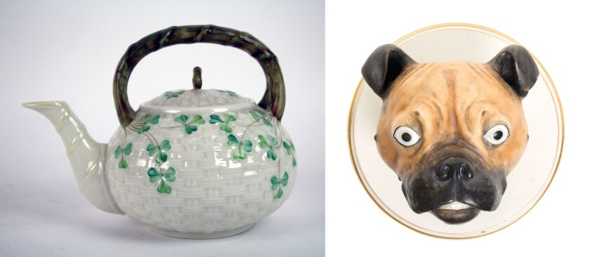 Hard to believe, but both of these very different items were handmade by the Irish pottery maker Belleek.