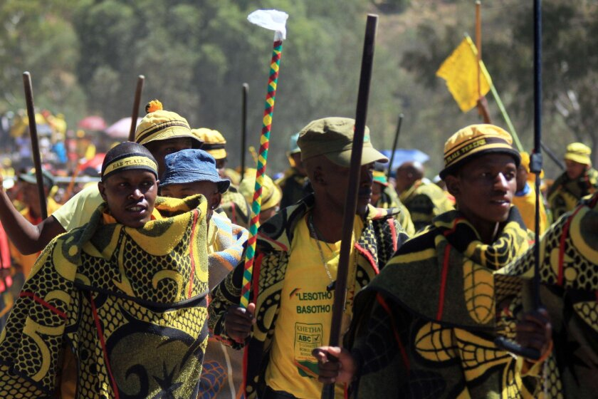 Singers of the traditional Basotho music dance during the last campaign rally of Lesotho's All Basotho Convention party in Maseru on Sunday.