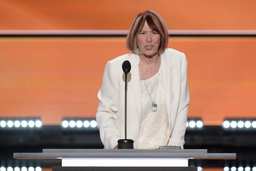 Patricia Smith, mother of Benghazi victim Sean Smith, addresses the Republican National Convention on Monday.