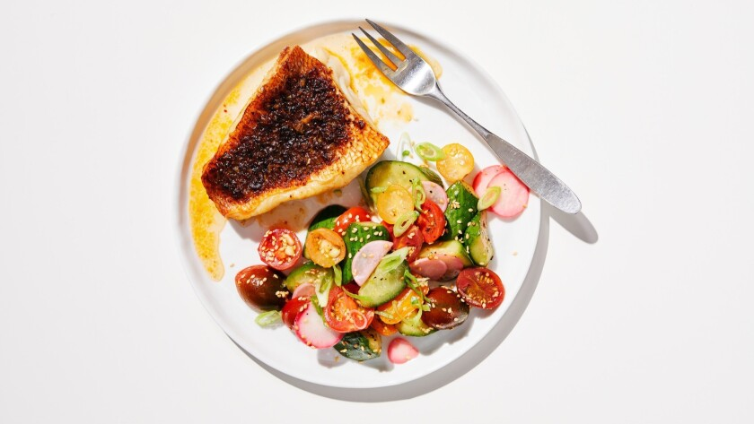 LOS ANGELES - THURSDAY, May 30, 2019: Blackened Red Snapper with Korean Pickled Tomatoes. Food Styli