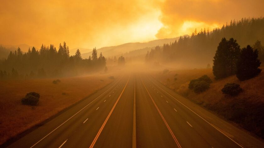 An empty stretch of Interstate 5 in Lamoine, Calif. The freeway has been closed for days because of the Delta fire in Shasta-Trinity National Forest.