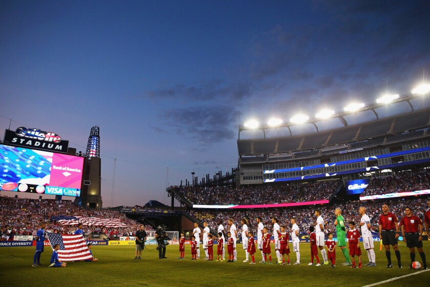FOXBORO, MA - JULY 10: The United States stands for their national anthem before the 2015 CONCACAF Gold Cup match between United States and Haiti at Gillette Stadium on July 10, 2015 in Foxboro, Massachusetts. (Photo by Maddie Meyer/Getty Images) ** OUTS - ELSENT, FPG - OUTS * NM, PH, VA if sourced by CT, LA or MoD **