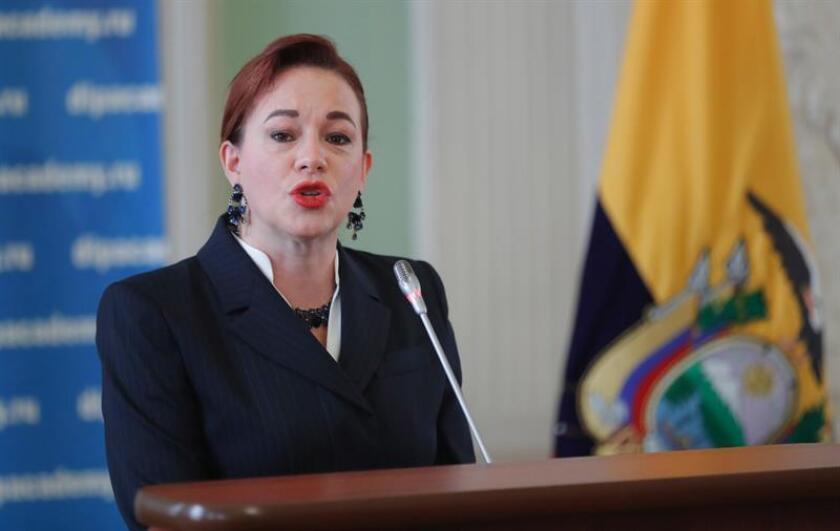 La canciller ecuatoriana, María Fernanda Espinosa, durante un discurso. EFE/Archivo