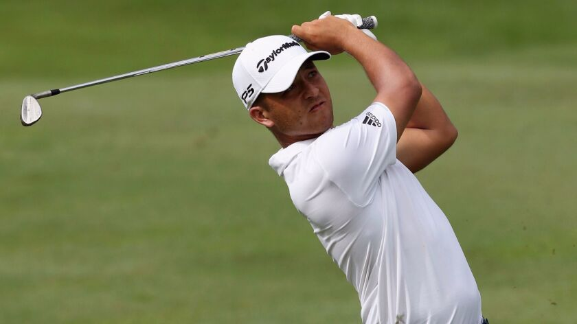 Xander Schauffele of the United States in action during round three of the 2017 CIMB Classic at TPC Kuala Lumpur on October 14, 2017 in Kuala Lumpur, Malaysia.